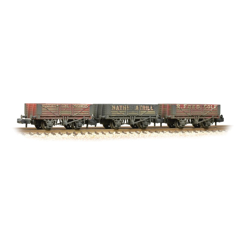 Graham Farish 377-065 5 Plank Wagons Coal Trader Triple pack (weathered)