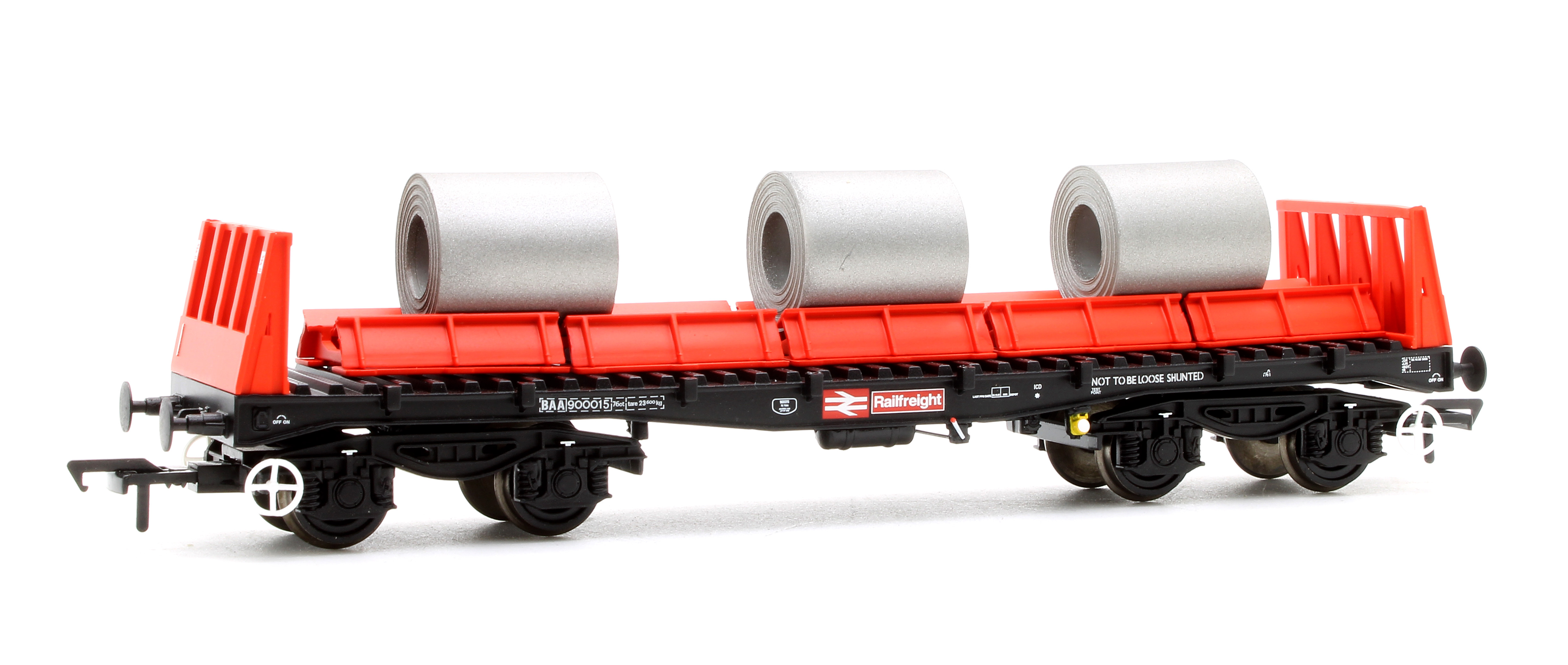 Bachmann 38-352B BAA Steel Carrier Wagon Steel Coils BR Rail Freight Red & Black