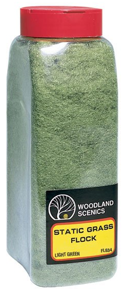 Woodland Scenics FL634 Static Flock Light Green - Shaker - Click Image to Close