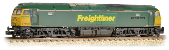 "Graham Farish 371-651A Class 57/0 57008 ""Freightliner Explorer"" Freightliner (weathered)"