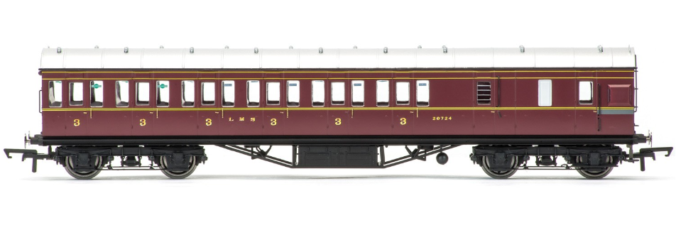 Hornby R4677 57ft Non-Corridor Brake 3rd Coach 20724 LMS Crimson