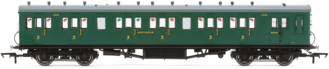 Hornby R4793 58' Maunsell Rebuilt (Ex-LSWR 48') Six Compartment Brake Third Coach 2628 SR Green