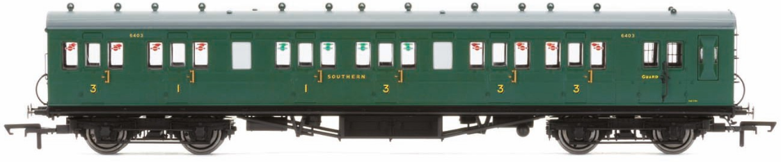 Hornby R4794 58' Maunsell Rebuilt (Ex-LSWR 48') Six Compartment Brake Composite Coach 6403 - Set 44 SR Green