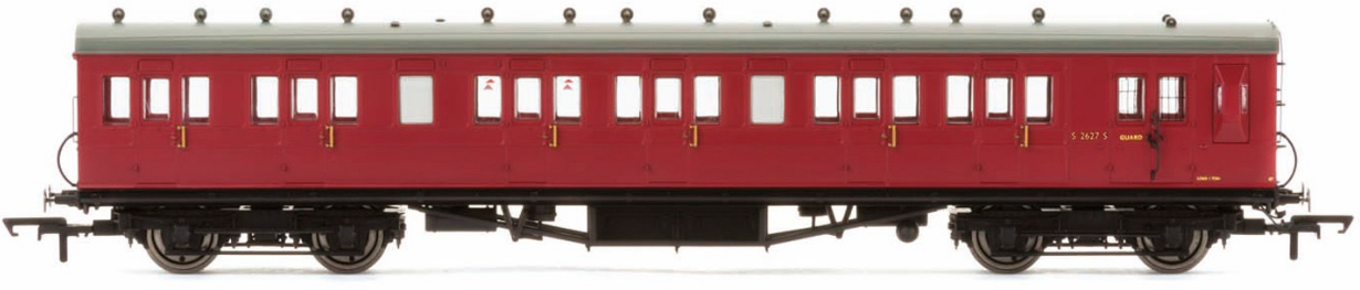 Hornby R4747A 58' Maunsell Rebuilt (Ex-LSWR 48') Six Compartment Brake Third Coach S2627S BR Maroon