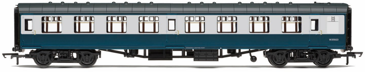 Hornby R4772 Mk1 Corridor Second Coach W25908 BR Blue & Grey