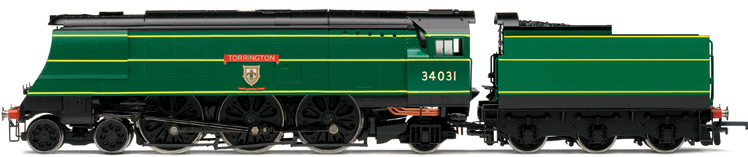 Hornby R2691 West Country Class (Air-Smoothed) 4-6-2 34031 'Torrington' ex-SR Lined Green with blank tender