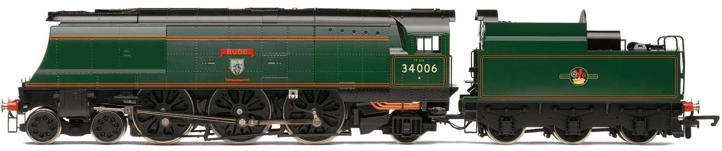 Hornby R3310 West Country Class (Air-Smoothed) 4-6-2 34006 'Bude' BR Lined Green with late crest