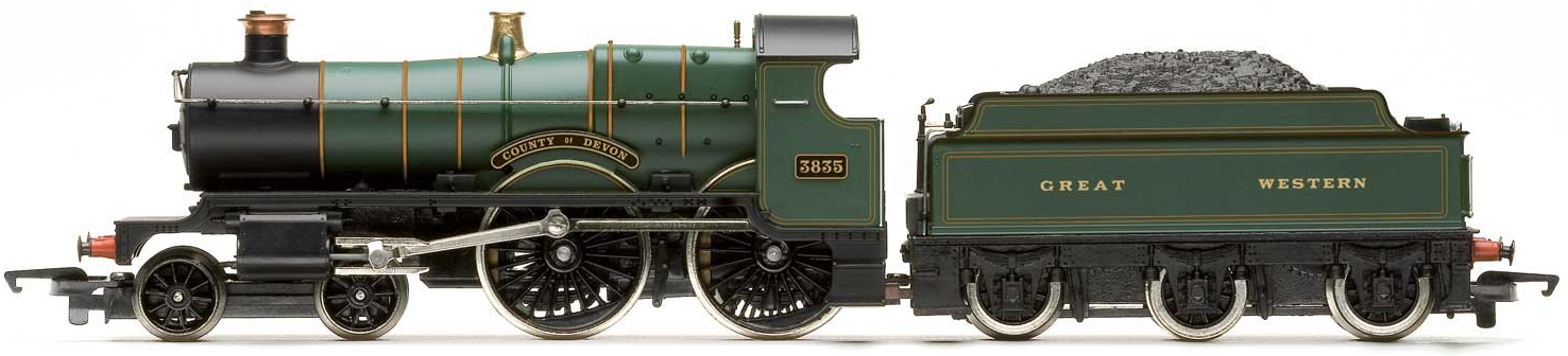 "Hornby R3277 County Class 4-4-0 3835 ""County of Devon"" GWR Lined Green - Railroad"