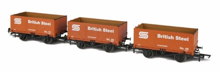 Oxford Rail/GVH GV6013 3 Pack of British Steel 7 Plank Open Wagons