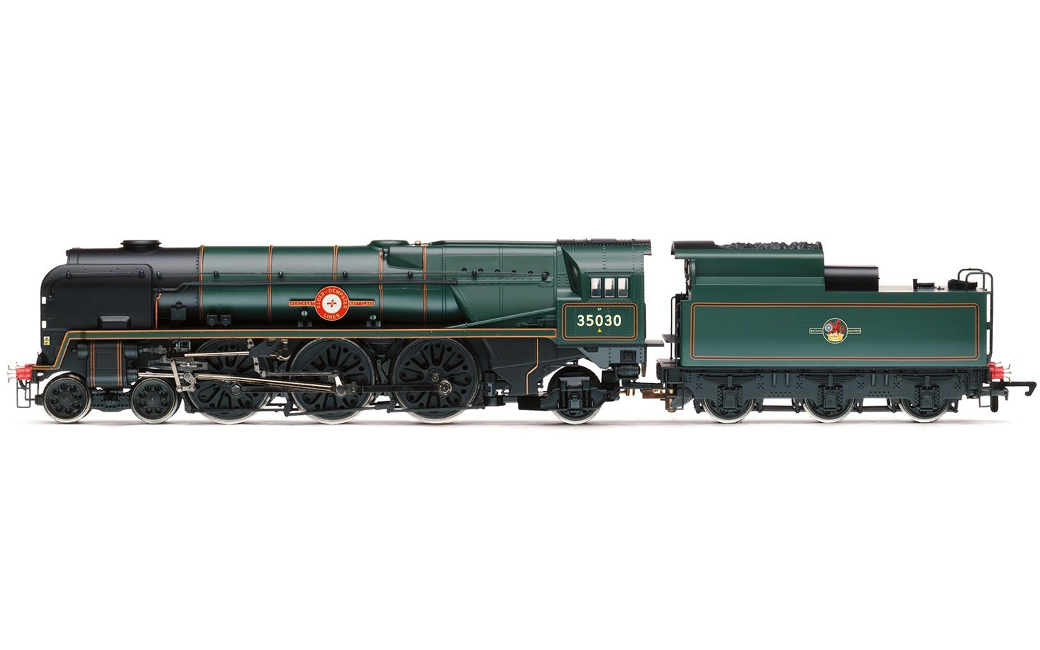 "Hornby R3617 Merchant Navy Class (Rebuilt) 4-6-2 35030 ""Elder Dempster Line"" BR Green with late crest"