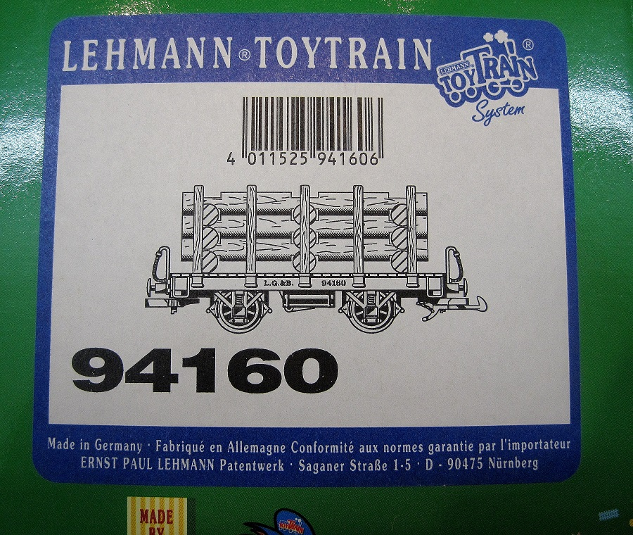 LGB Toy Train 94160 Log Carrier Wagon with log load - (second hand)