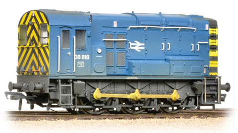 Bachmann 32-115B Class 08 08818 BR Blue with Wasp Stripes (weathered)