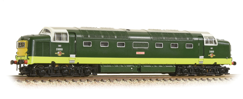 Graham Farish 371-285A Class 55 'Deltic' D9009 'Alycidon' BR Two-Tone Green (Small Yellow Panels)