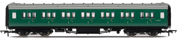Hornby R4303A Maunsell Corridor 1st Coach S7228S BR (SR) Green
